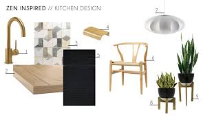 Zen Kitchen Accessories Furniture Minimal Wishbone Chair Indoor Plants Contemporary Modern Design Moodboard