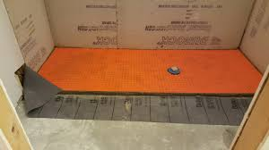 Heated tile shower floor installation