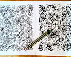Coloring Page Set Of Two Adult Kids Activity Original Floral Nature Art