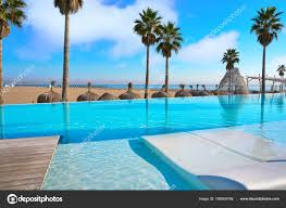 100 Resorts With Infinity Pools Resort Infinity Pool In A Beach With Palm Trees Stock Photo TONO
