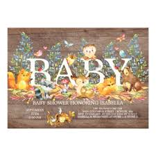 Wood Woodland Neutral Baby Shower Invitation