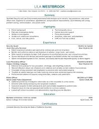Law Enforcement Resume Template Professional Security Examples Resources Report Format