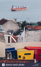 100 Cargo Houses Panoramic View Of Lisbon With Colored Houses And Cargo In The