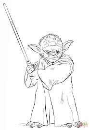 Yoda With Lightsaber Good Coloring Pages