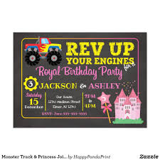 Monster Truck & Princess Joint Birthday Invitation | Zazzle ... Monster Truck Party Printables Set Birthday By Amandas Parties Invitation In 2018 Brocks First Birthday Invite Car Etsy Fire Invitations Tonka Envelopes Engine Online Novel Concept Designs Jam Free British Decorations Supplies Canada Open A The Rays Paxtons 3rd Party Trucks 1st 2nd 4th Ticket Iron On Blaze And The Machines Baby Shark Song Printable P