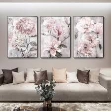 blume wand kunst leinwand malerei rosa floral poster drucken