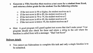 Generate A VBA Function That Receives A Test Score
