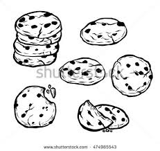 Chocolate chips cookie vector illustration
