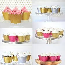 Astra Gourmet Metallic Glitter Cupcake Wrappers Liners Standard Size For Wedding Parties Pack Of