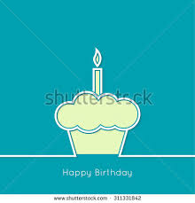 Abstract background with birthday cupcake and lighted candle Outline minimal