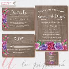 Wood Wedding Invitation RSVP Card Rustic Weeding DIY Rusticfloral Printable