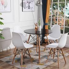 rund tisch mit 2 4 weiß skandinavisch stühle für esszimmer