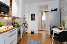 Kitchen Built In Cabinet Grey Galley Set Metal Cabinetry White Brick Wall Small