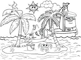 Printable Beach Coloring Book Summer Scene Sheets Pages Simple Image Large Size