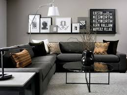 Modern Black And Grey Living Room Love The Dark Couch With Lighter Wall
