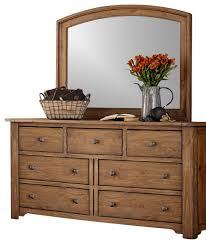 7 Drawer Dresser And Mirror Solid Wood Construction In Vintage
