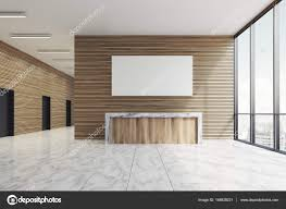 100 In Marble Walls Wooden Reception In Marble Lobby Poster Stock Photo