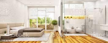 ein schlafzimmer kombiniert mit einem badezimmer in einem modernen stil stockfoto und mehr bilder architektur