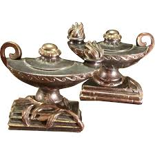 Aladdin Lamp Oil Canada by Pair Of Cast Metal Aladdin Lamp Bookends By Dodge Circa 1947 From