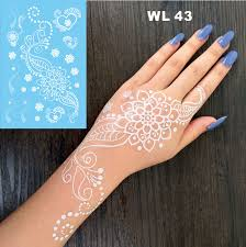 WL 43 Pure Mandala Flower White Henna Temporary Tattoo Hand Decoration Sticker For Daily