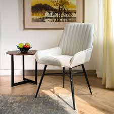 Details About Glitzhome Set Of 2 Modern Cream Elegant Dining Chairs Accent  Living Room Seats