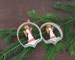 Vintage Erzgebirge Shaved Wood Hoop Ornament With Carved Angel Set Of Two Collectible Christmas Tree Ornaments Made In Germany