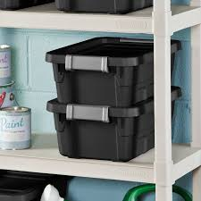 Sterilite 4 Shelf Cabinet by Sterilite 4 Gal 15 L Stacker Tote Black Walmart Com