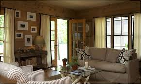 Living Room Minimalist Rustic Ideas With Brown Wood Wall And Console Table Also Comfortable Laminated Fabric Lovely Sofa