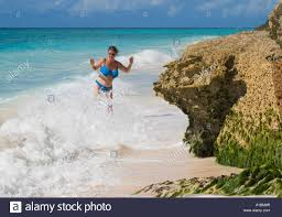 100 Butterfly Beach Barbados Woman In Sea St Christopher Stock Photo