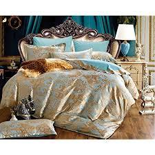 lanqinglv satin bettwäsche 135x200cm 4 teilig gold blau blumen blumenmuster deckenbezug glatt luxus 2 bettbezug mit reißverschluss und 2 kissenbezug