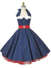 Classic Dame Navy Blue And White Polka Dot Halter Swing Dress