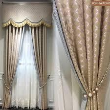 benutzerdefinierte vorhang einfache moderne hohe präzision jacquard schlafzimmer luxus gold tuch blackout vorhang volant tüll panel c233