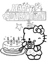 Hello Kitty Cake And Star Birthday Coloring Page