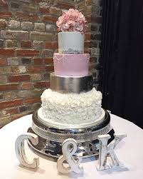 Pink Silver Wedding Cake With Ruff