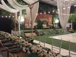 Wedding Reception Surabaya Indonesia Decoration Rustic Greenery Indoor Pelaminan