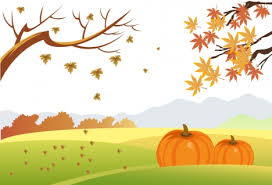 Autumn drawing design with falling leaves and pumpkins vectors stock