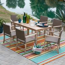Square Patio Tablecloth With Umbrella Hole by Belham Living Bayport Wood And All Weather Wicker Arm Chair Patio
