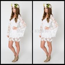 lace mini bell long sleeve bohemian wedding dress destination