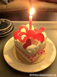 Birthday cake love with candle
