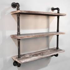 3 Level Rustic Industrial Timber Pipe Shelf 92cm