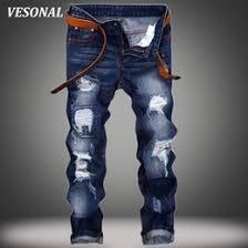Wholesale VESONAL 2017 Brand Hole Slim Biker Hip Hop Swag Men Jeans Pants Fashion Casual Vintage Ripped Denim Mens Trousers Black VE121