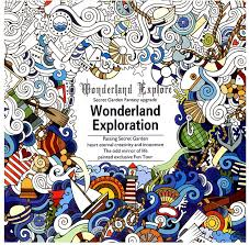 24 Pages New English Version Wonderland Exploration Coloring Book For Adult Relieve Stress Graffiti Drawing Art