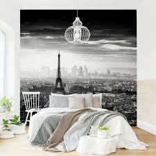 fototapete der eiffelturm oben schwarz weiß