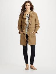 tory burch ruffled trenchcoat in natural lyst