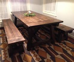 Farmhouse Dining Room Table With Rustic Look Regarding Kitchen Bench