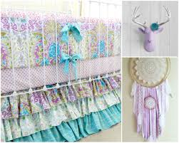 Coral And Mint Crib Bedding by Lavender Boho Baby Crib Bedding Purple Baby Bedding