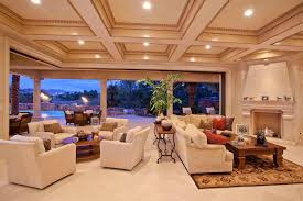 traditional living room with box ceiling crown molding in las
