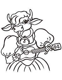 Cow Playing Guitar Coloring Page