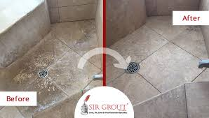 this shower s travertine floor was completely renovated after a