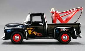 100 Stacey David Trucks 1956 Ford F100 Wrecker Tow Truck Black With Flames S GearZ 164 Scale Diecast Model By ACME 51248